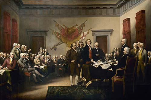 John Trumbull's painting, Declaration of Independence, depicting the five-man drafting committee of the Declaration of Independence presenting their work to the Congress. The painting is on the back of the U.S. $2 bill. The original hangs in the U.S. Capitol rotunda.