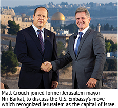 Matt Crouch joined former Jerusalem mayor Nir Barkat to discuss the U.S. Embassy's move which recognized Jerusalem as the capital of Israel.